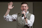 Richard Spencer, who leads a movement that mixes racism, white nationalism and populism, speaking at the Texas A&M University campus. Photo / AP