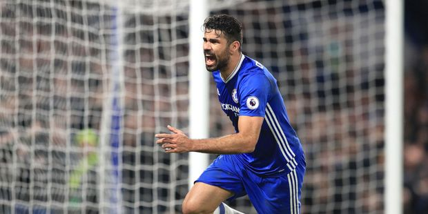 Chelsea's Diego Costa scores against Stoke City. Photo / AP