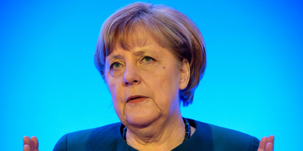 """I believe we Europeans have our fate in our own hands,"" Chancellor Angela Merkel said in Berlin. Photo / AP"