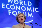 British Prime Minister Theresa May speaks on the third day of the annual meeting of the World Economic Forum in Davos, Switzerland. Photo / AP