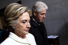 Hillary Clinton and Bill Clinton arrive on the West Front of the U.S. Capitol. Photo / AP