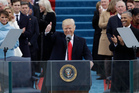 President Donald Trump gives a thumbs after being sworn in as the 45th president of the United States. Photo / AP