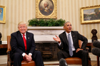 President Barack Obama and Donald Trump in the Oval Office of the White House in Washington. Photo / AP