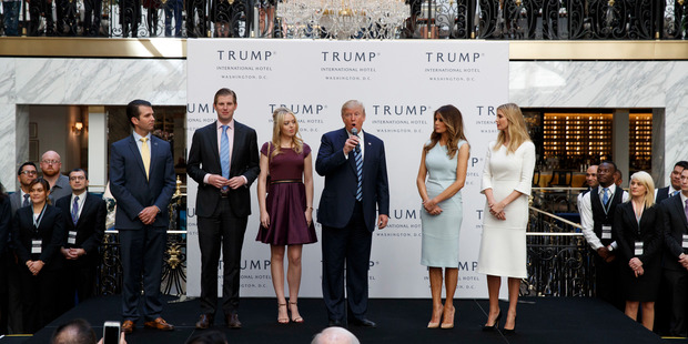 Donald Trump with his family. Photo / AP