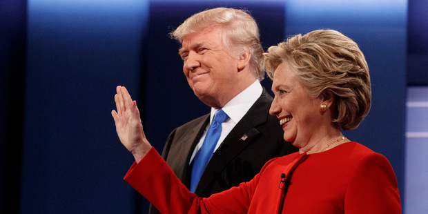 Donald Trump stands with Hillary Clinton. Photo / AP