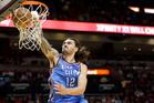 Oklahoma City Thunder centre Steven Adams dunks against the Miami Heat. Photo/AP Photos