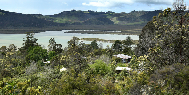 General view looking over the property of Wilderland alternative lifestyle community on the Coromandel Peninsula. Photo / Alan Gibson