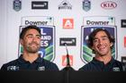 Shaun Johnson and Johnathan Thurston during the 2017 NRL Nines announcement. Photo / Greg Bowker