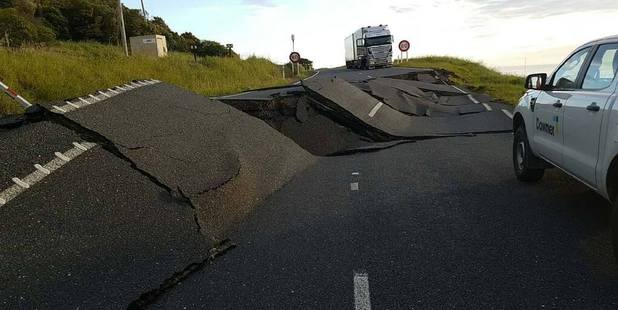 A road near Oaro State Highway 1 damaged by the Kaikoura earthquake. Photo / Facebook