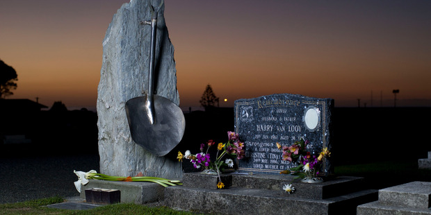 The Strongman Mine disaster memorial in the Karoro cemetery in Greymouth. Photo / File