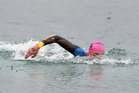 Swim Rotorua's David Boles on his way to his debut win over the 5km distance at the New Zealand Open Water Championships in Taupo on the weekend. PHOTO/ KERRY MARSHALL / www.bwmedia.co.nz