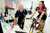 EIT associate professor Dr Carl Paton tests Hawke's Bay Today chief reporter Tracey Chatterton's fitness levels.