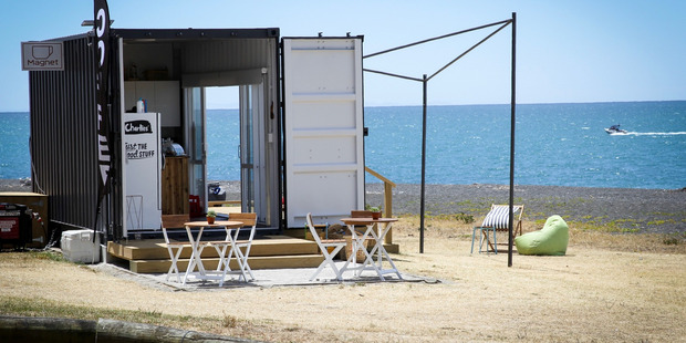 Magnet Cafe on Marine Parade has drawn attention for it's location atop the local petanque court. Photo / Warren Buckland