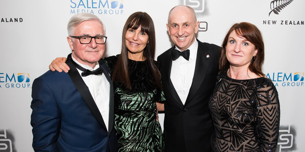Christopher Liddell and wife Renee Harbours with US Ambassador, Tim Groser (far left) and his deputy Caroline Beresford (far right) at an event in Washington DC last night. Photo / Joy Asico.