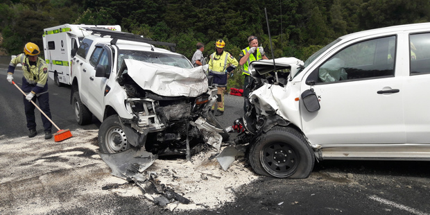 The Northland Rescue Helicopter took patients from both these vehicles from Mangakahia Rd to Whangarei Hospital in serious condition.