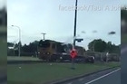 Raw video of a train hitting a car in Matamata