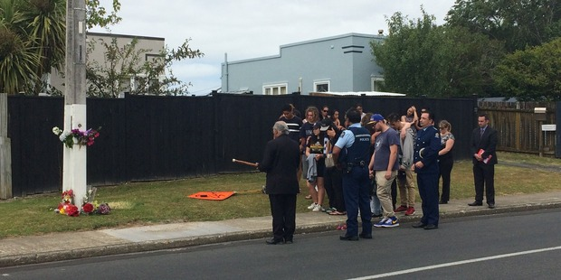 Family and friends attend a blessing at the site where Jacob was killed. Photo / NewstalkZB