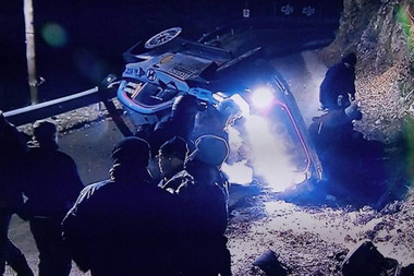 Hayden Paddon's overturned car after he slid on ice and crashed into a spectator.