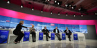 From left to right: Francine Lacqua, Christine Lagarde, Pier Carlo Padoan, Lawrence Summers, and Raymond Dalio attend a panel session at the WEF in Davos, Switzerland. Photo / Bloomberg