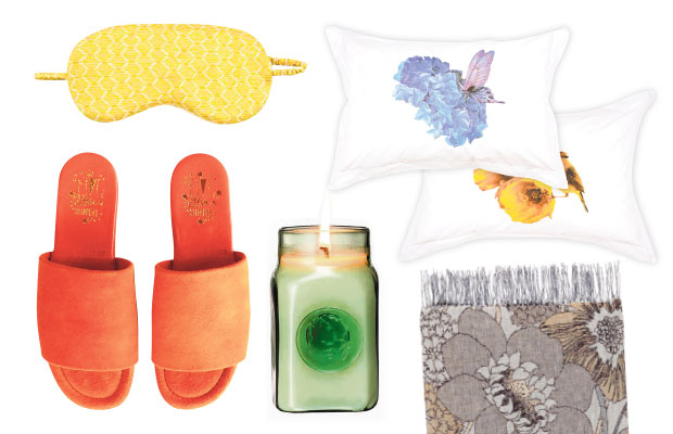 Clockwise from left: Asceno silk eye mask, $79, from Esalare. Ruby pillow cases, $45 each. Missoni throw, $699, from Tessuti. Curio Noir Gardenia's Shadow candle, $149. Five Star slippers, by Minnie Cooper,$139.