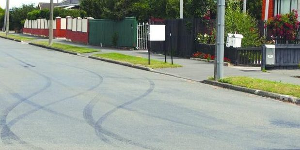Burnout marks found along Ensign St in Halswell.
