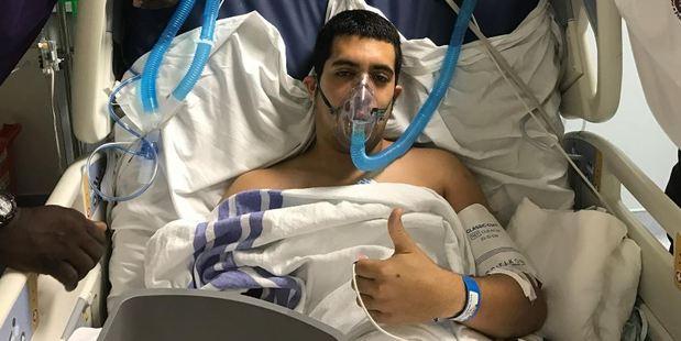 Firefighter Leonardo Moreno is recovering in hospital. Photo / Facebook