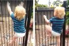 Two-year-old Brodie Atkinson showed off his climbing skills, scaling the family's pool fence in 21 seconds.