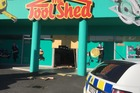 Police were this morning investigating a second ram raid at the ToolShed in Hamilton. Photo / Belinda Feek
