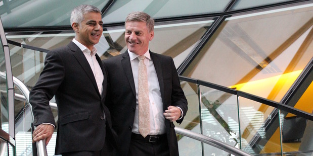 New Zealand Prime Minister Bill English met with London mayor Sadiq Khan. Photo / Claire Trevett