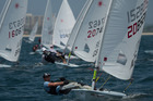 Aucklander Scott Leith makes a flying start ahead of the fleet in the first race of the Laser Masters World Championships at Riviera Nayarit, Mexico.