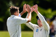 Tim Southee and Henry Nicholls of the Black Caps celebrate the wicket of Tamim Iqbal. Photosport
