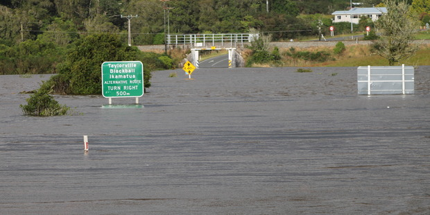 Loading The road underpass at Stillwater was closed by flooding. Photo / Greymouth Star