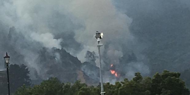 Fire crews are battling the large scrub blaze. Photo / Supplied via Jamie Wilson