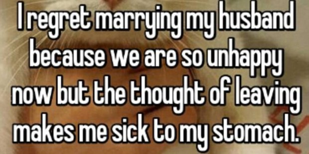 One woman appeared to be desperately unhappy but was too afraid to end her relationship. Photo / Whisper.com