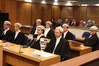 Four new barristers and their sponsoring lawyers in the High Court in Napier yesterday. Photo / Duncan Brown