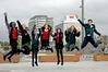 Spanish students Lucy Tabar, 15, Ana Fayos, 17, Amaia Elkano, 14, Monica Bozalongo, 14, Clara Tresanchez, 15,  Esther Fernandez, 17, and Eduardo Torres, 17. Photo/George Novak