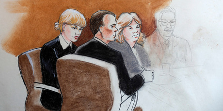 Taylor Swift, left, appears with her lawyer and mother in the first courtroom sketch provided by Jeff Kandyba. Photo/AP
