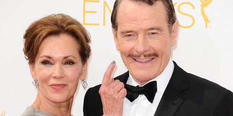Actor Bryan Cranston (R) and wife Robin Dearden. Photo / Getty