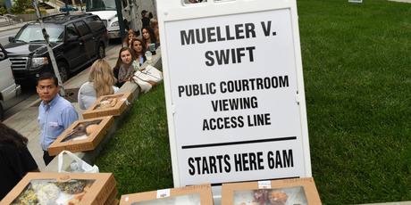 Fans were treated to donuts by a local radio station as they wait outside the Alfred A. Arraj Courthouse, during day 5 of the Taylor Swift and David Mueller trial. Photo / Getty