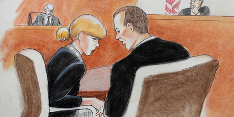 In this courtroom sketch, pop singer Taylor Swift, front left, confers with her attorney as David Mueller, back left, and the judge look on during a civil trial in federal court. Photo / AP