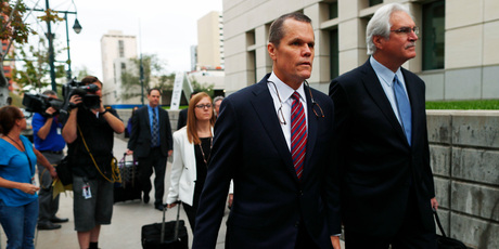 Douglas Baldridge, attorney for pop singer Taylor Swift, leads his team into the morning session of the the fourth day of a civil trial. Photo / AP