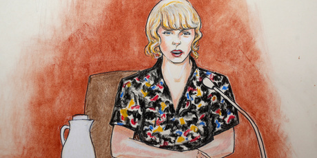 In this courtroom sketch, pop singer Taylor Swift speaks from the witness stand during a trial. Photo / AP
