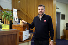 Salvation Army Major Glenn Anderson was voting in this photograph taken last October. Wanganui Chronicle Photograph by Natalie Sixtus.