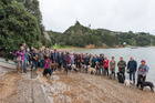 Sunday's protest at Opua attracted around 60 people and their four-legged friends.