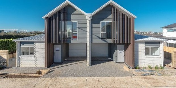 The new two-storey duplex houses in Rototuna will look to encourage community living. (Inset) Lodge Real Estate agent Cathy O'Shea. Photos / Supplied