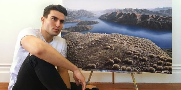 Stefan Burrows with his painting of Lake Wanaka, as seen from Roy's Peak, which now hangs on a wall in Perth -follows his talent.