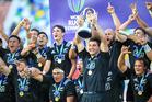NZ Captain Luke Jacobson lifts the World Rugby U20 Championship Trophy. New Zealand v England at Mikheil Meskhi Stadium, Tbilisi on the 18 June 2017. Copyright photo: GP O'Sullivan / www.photosport