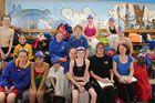 Members of the Dannevirke Amateur Swimming Club poolside during Sunday's swim meet.