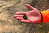 A piece of obsidian mined from Tuhua (Mayor Island) has been found by archaeologists excavating an ancient Maori village at the site of a new roundabout being built at Papamoa. Photo/supplied