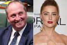 Amber Heard has her revenge on Barnaby Joyce. Photos / Getty Images, AP